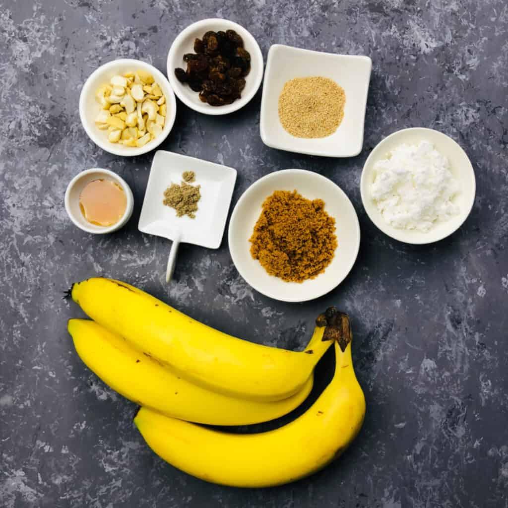 Balehannu rasayana / banana salad ingredients
