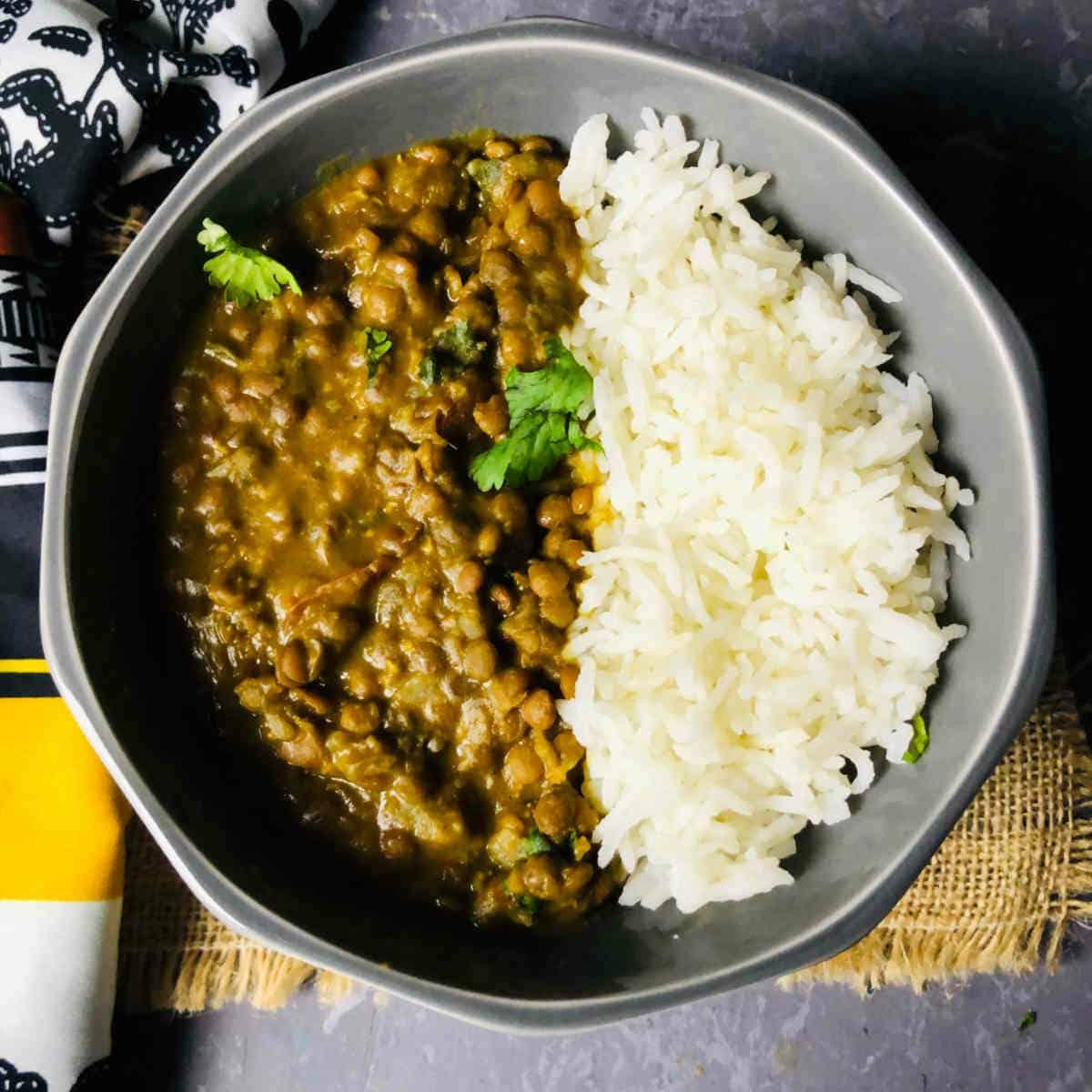whole masoor dal and basmati rice